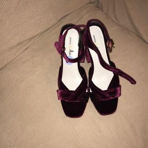 Seven dials suede burgundy heels